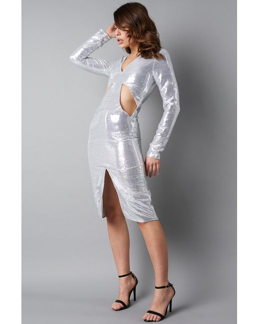 NA-KD Deep V-neck Cut Out Midi Dress in het Metallic