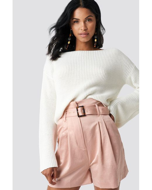NA-KD - White Cropped Long Sleeve Knitted Sweater - Lyst