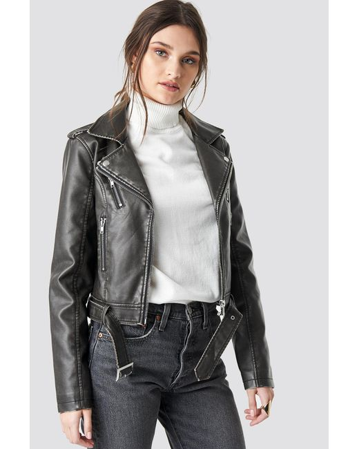 d8af9b8a9 Women's Pu Leather Distressed Biker Jacket Black