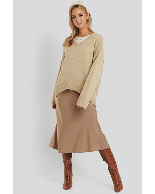 NA-KD Natural Wool Blend Oversized Wide Neck Sweater