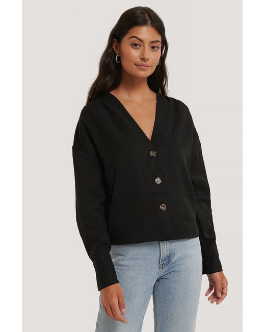 NA-KD Black Misslisibell x Wrinkle Shoulder Blouse