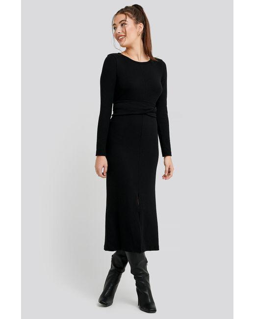 Trendyol Binding Detailed Ribana Dress in het Black