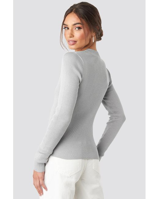 NA-KD Zip Knitted Sweater in het Gray
