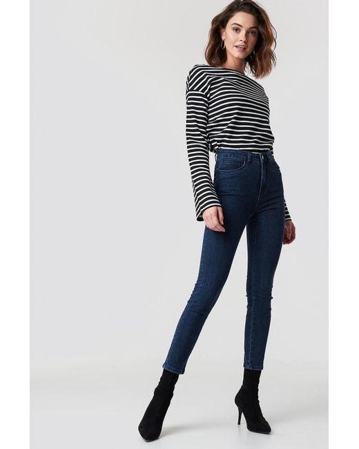 229b9af3d7c7 Lyst - NA-KD Highwaist Skinny Jeans Dark Blue in Blue - Save 51%