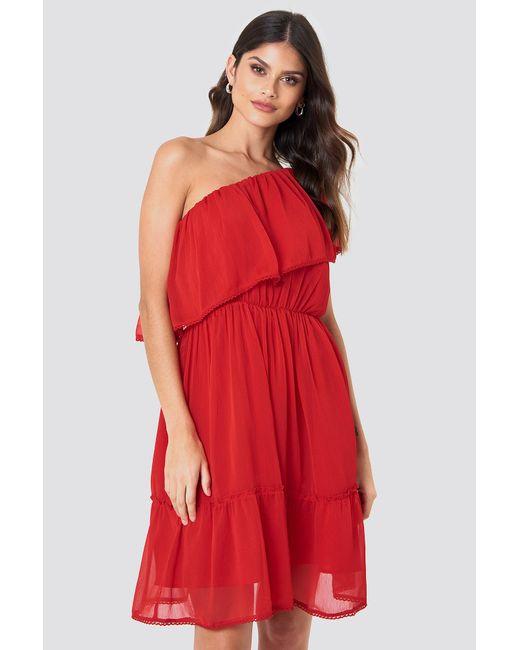 NA-KD Red Boho One Shoulder Flounce Dress