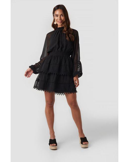 NA-KD Black Boho Embroidery Mini Dress