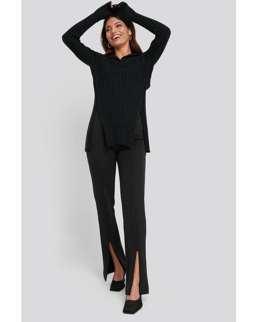 NA-KD Front Slit Zipper Jersey Skinny Trousers in het Black