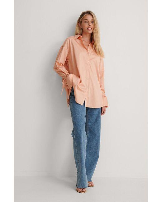 NA-KD Pink Reborn Recycelt Shirt Mit Gebundenen Ärmeln