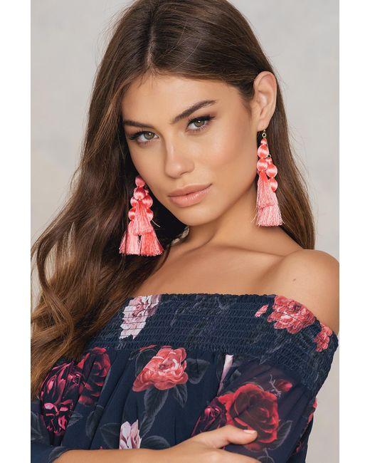 NA-KD - Pink Triple Tassel Drop Earrings - Lyst