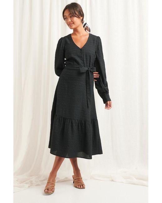 NA-KD Black Boho Structured Tie Waist Dress
