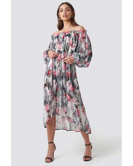 48857617f0 NA-KD - Wide Sleeve Off Shoulder Ankle Dress Multicolor - Lyst ...