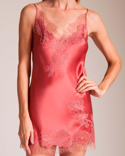 Carine Gilson   Pink Rose's V-neck Silk Babydoll   Lyst