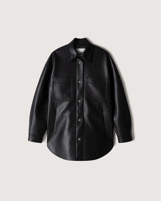 Nanushka Black Martin - Regenerated Leather Overshirt