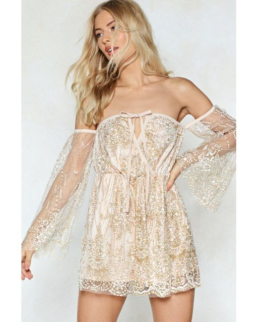 Nasty Gal - Natural Right Lace Mesh Romper - Lyst