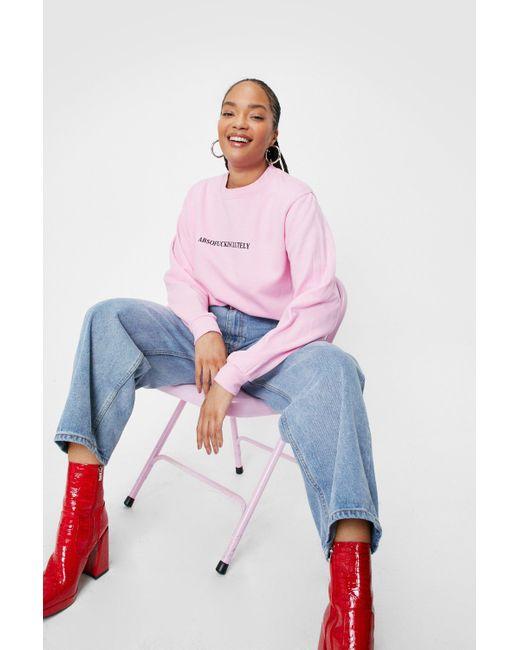 Nasty Gal Pink Plus Size Absofuckinglutely Graphic Sweatshirt