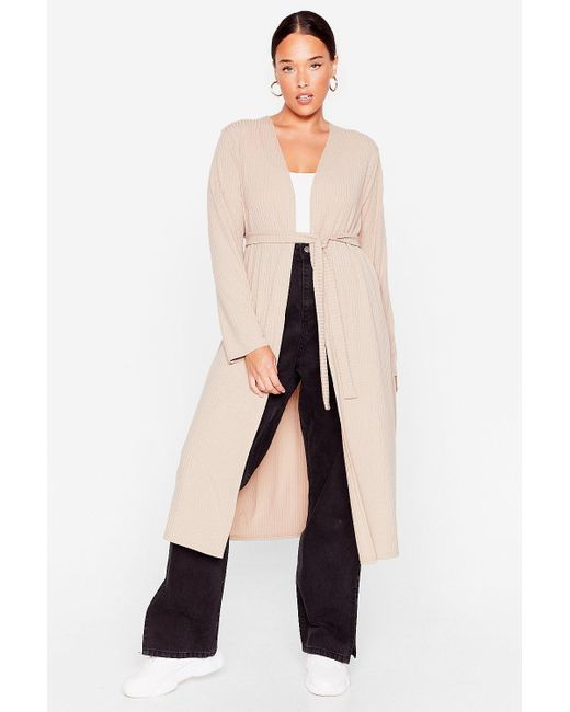 Nasty Gal Natural Plus Size Ribbed Longline Belted Cardigan
