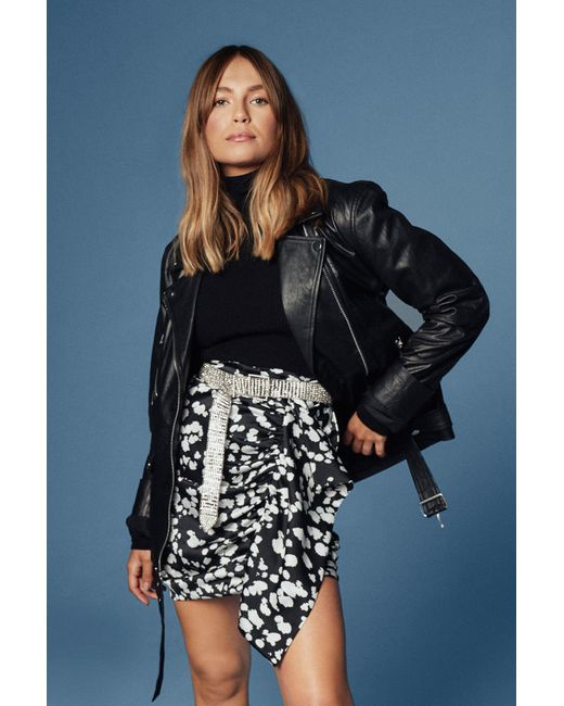 "Nasty Gal Black ""oversized Leather Moto Jacket With Zip Closure At Front"""