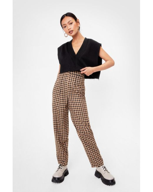 Nasty Gal Natural Petite Gingham Straight Leg Trousers