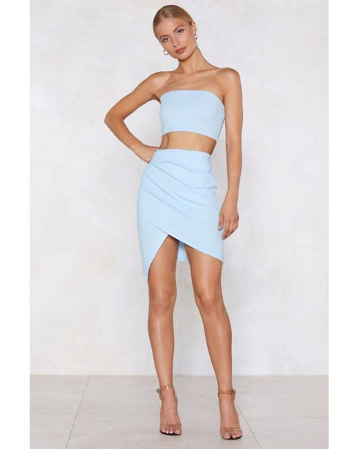 b062ebd42e ... Nasty Gal - Blue Wrap Star Bandeau Top And Skirt Set - Lyst ...