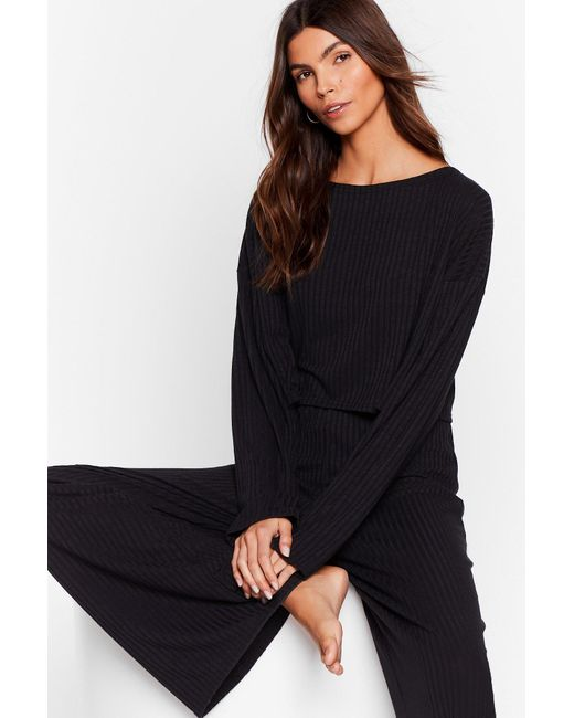 Nasty Gal Black Recycled Ribbed Top And Pants Set