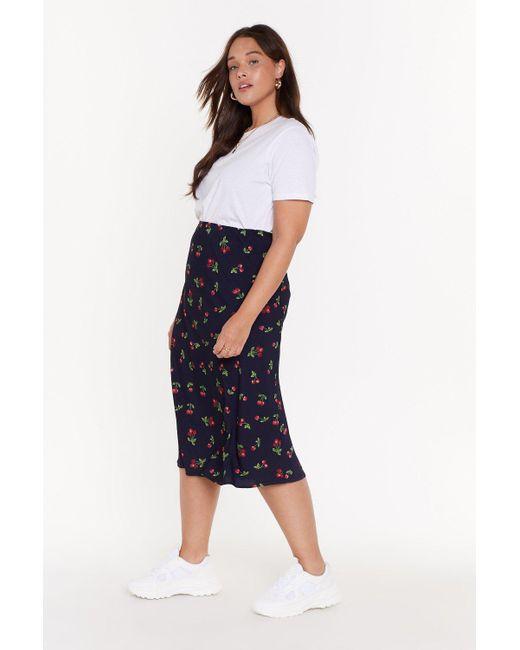 29635057a ... Nasty Gal - Blue Ms Cherry Print Bias Cut Midi Skirt - Lyst ...
