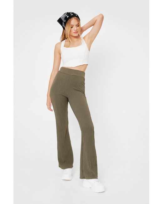 Nasty Gal Green Recycled Ribbed High Waisted Flare Trousers