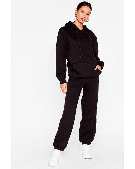 Nasty Gal Black Oversized Hoodie And Joggers Set