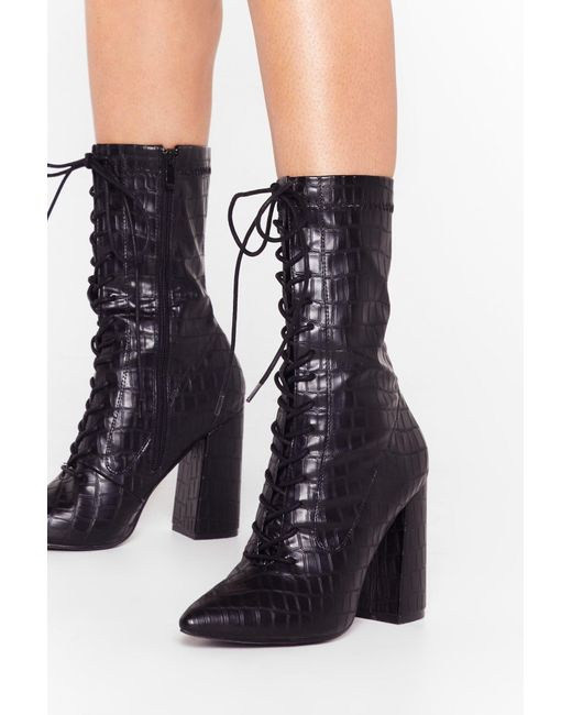 Nasty Gal Black Croc Lace Up High Ankle Boots