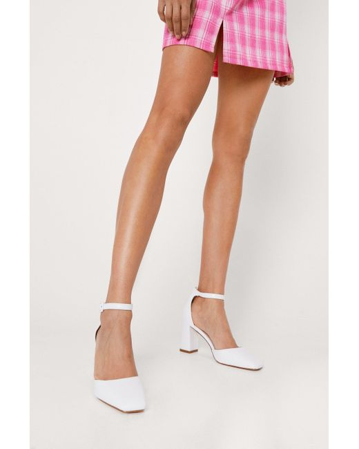 Nasty Gal White Faux Leather Square Toe Strappy Heels