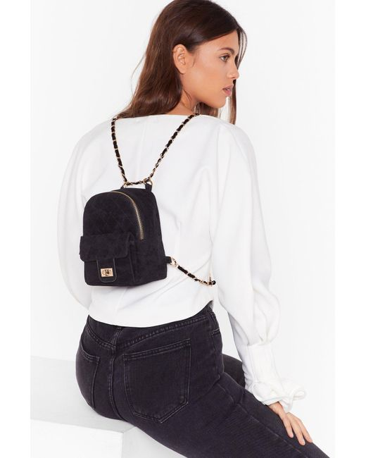 Nasty Gal Black Want Get In Touch Velvet Backpack
