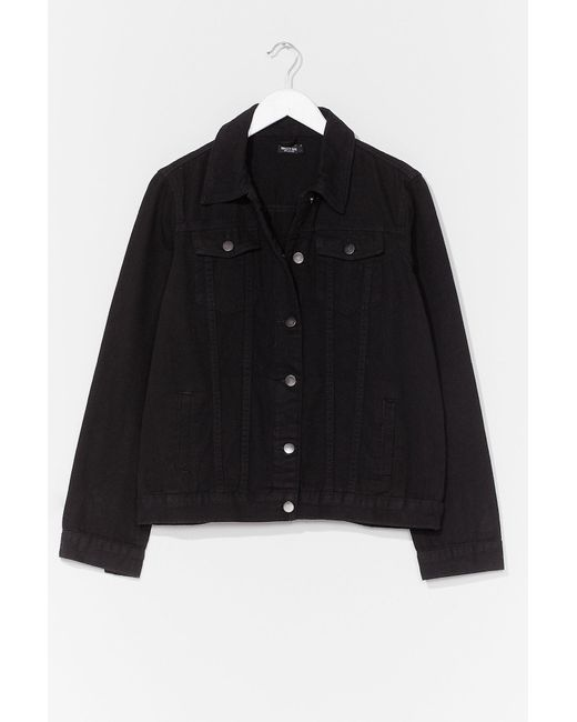 Nasty Gal Black Oversized And Out Seam Denim Jacket