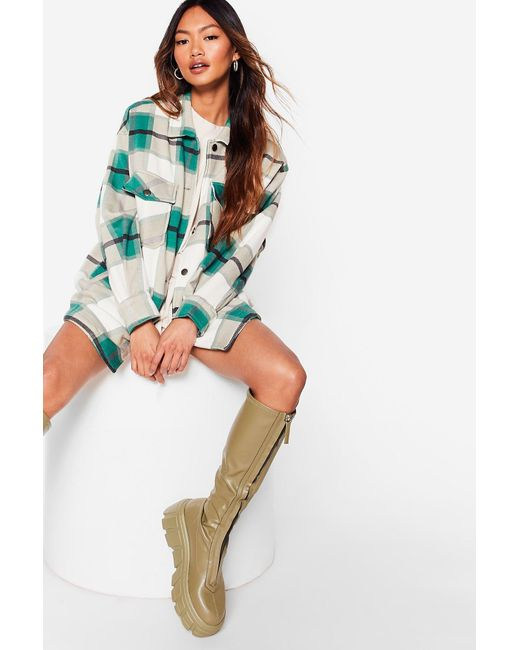 Nasty Gal Multicolor Petite Check Oversized Shacket