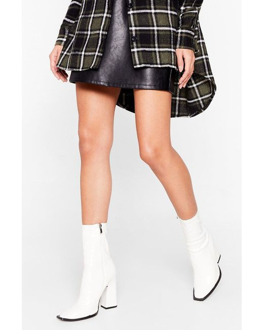 Nasty Gal White My Point Of View Patent Heeled Boots