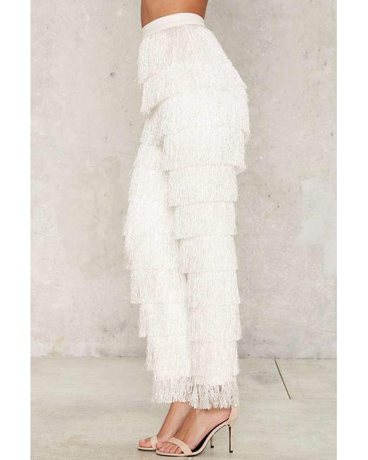 Nasty Gal Lavish Alice High Gear Fringe Pants White In