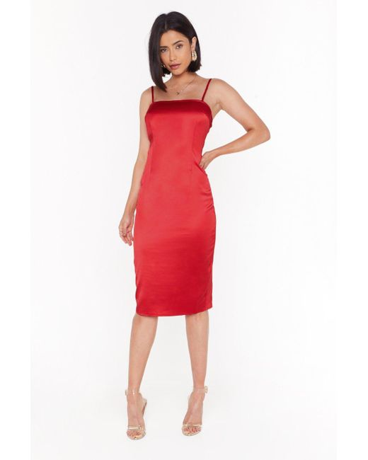 Nasty Gal Red The First To Dance Fitted Satin Dress