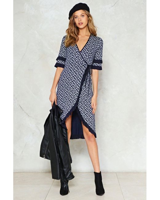 Nasty Gal | Blue Paisley Print Wrap Over Dress Paisley Print Wrap Over Dress | Lyst