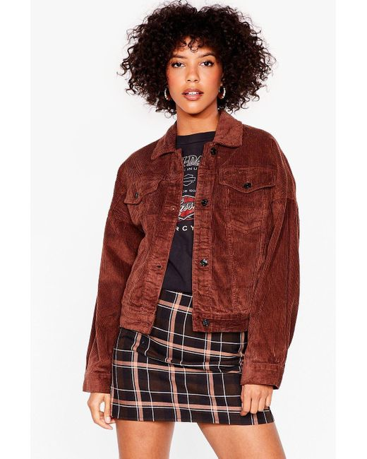 Nasty Gal Red Break The Record-uroy Oversized Jacket