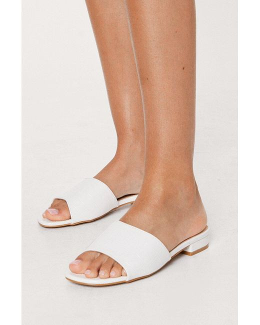 Nasty Gal White Faux Leather Croc Open Toe Flat Sandals