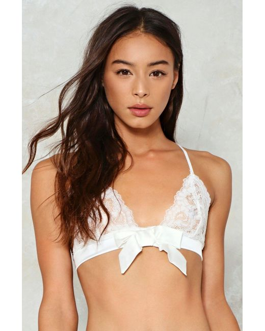 Nasty Gal | White Bow Above And Beyond Lace Bralette Bow Above And Beyond Lace Bralette | Lyst