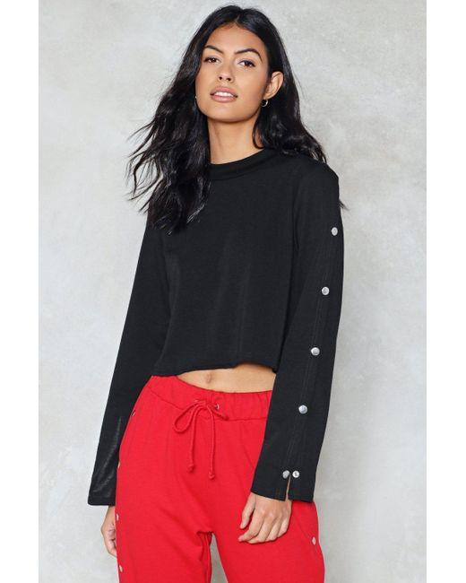 Nasty Gal | Black Popper Sleeve Crop Sweater Popper Sleeve Crop Sweater | Lyst