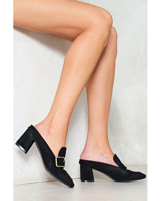 Nasty Gal | Black Flare Heel Buckle Mule Flare Heel Buckle Mule | Lyst