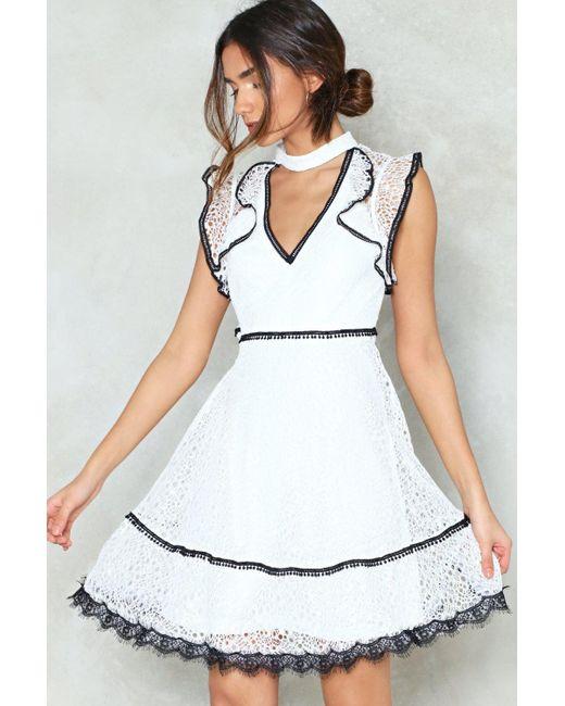 Nasty Gal - White Playing Dress Up Ruffle Dress - Lyst