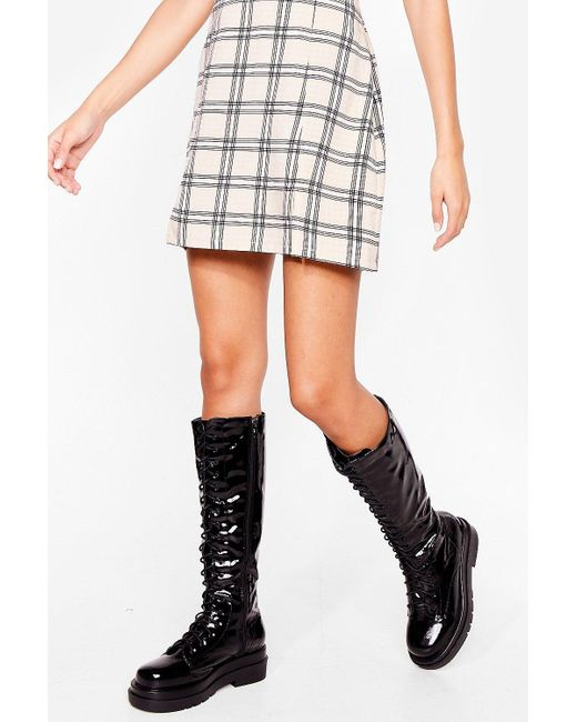 Nasty Gal Black Patent Lace Up Knee High Boots