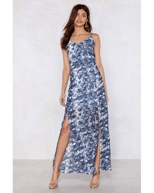 "Nasty Gal Blue ""snake Two Maxi Dress"""