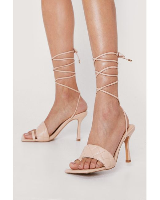 Nasty Gal Natural Faux Leather Quilted Lace Up Heels