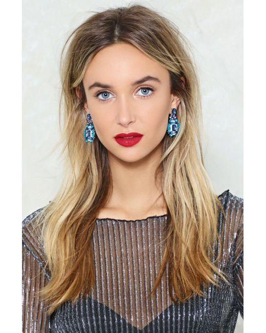 Nasty Gal | Blue Embellished Multistone Earrings Embellished Multistone Earrings | Lyst