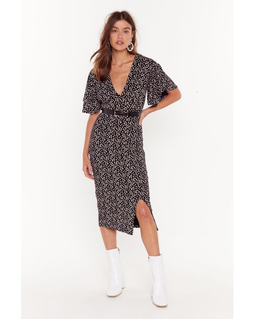 Nasty Gal Black It Grows Without Saying Floral Midi Dress