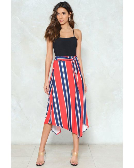 Nasty Gal - Blue Asymmetric Hem Stripe Midi Skirt Asymmetric Hem Stripe Midi Skirt - Lyst
