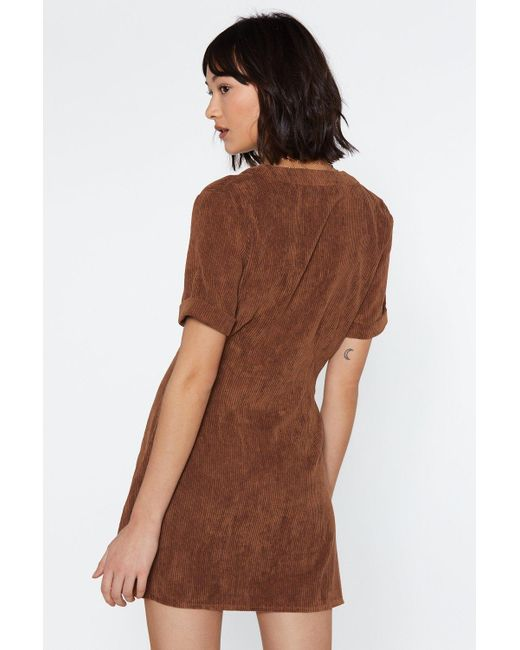 d6e563ce118 ... Nasty Gal - Brown Button Cloud Nine Corduroy Dress - Lyst ...