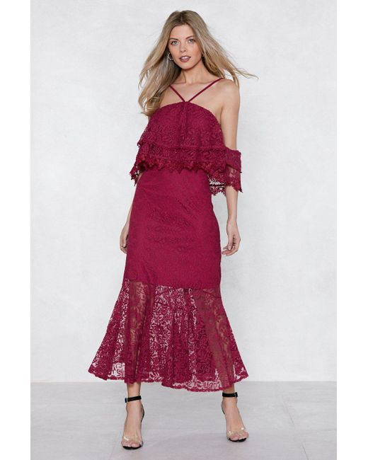 """Nasty Gal Red """"without A Lace Maxi Dress"""""""